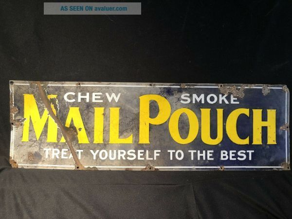 Early Antique Cigar Tobacco Porcelain Advertising Sign