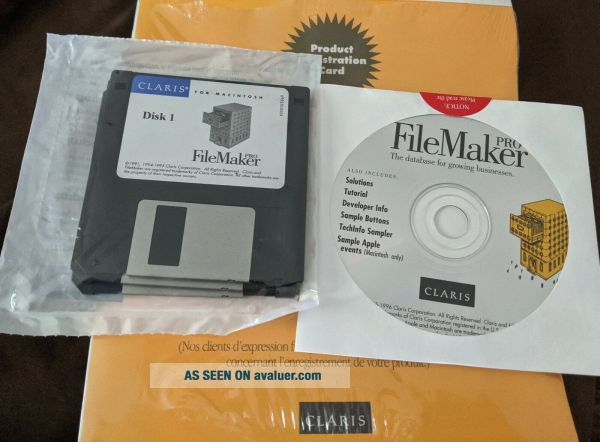 Claris Filemaker Pro Floppy & CD Software for Apple Mac w/ User Guide 3.  0